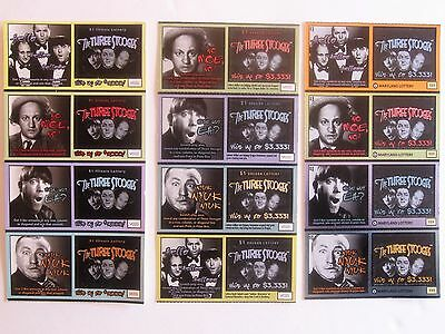 Three Stooges Instant SV lottery Ticket Sets, 3 diff Includes sets from Il,MD,OR