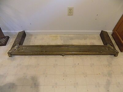 Antique 19th Century Victorian Fireplace Hearth Surround Fender, Brass Over Wood