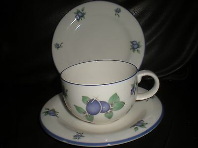 Doulton Everyday - trio - Cup, saucer and tea plate.  Blueberry pattern.