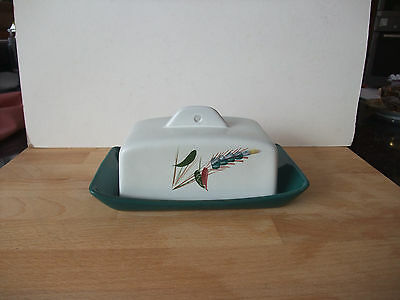 Vintage Denby Greenwheat Butter Dish