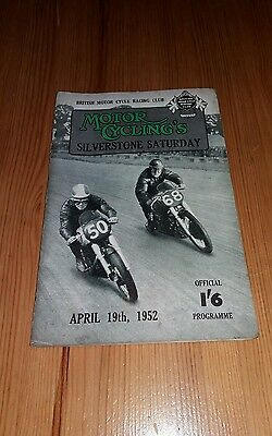 Motor Cycling Silverstone Saturday -  April 19th 1952 motorcycle programme