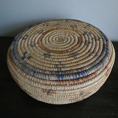 Vintage Native American Indian Hand Woven Basket With Lid