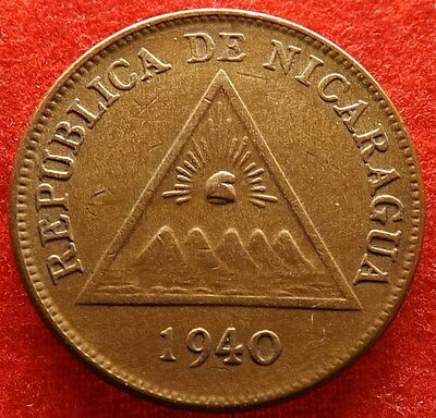 NICARAGUA 1940 Centavo, Finely Detailed Bronze Coin, Scarce, KM# 11  (#298)