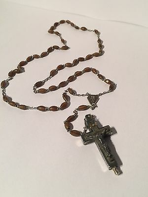 Antique Sterling Silver Relic Crucifix With Unique Faceted Rosary Beads