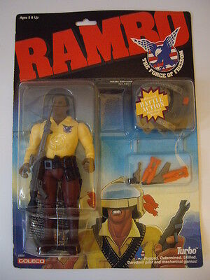 Vintage 1980s Coleco Rambo Force Of Freedom TURBO Figure New On Card