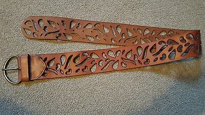 M&S Autograph Ladies Brown Leather Belt Size Medium