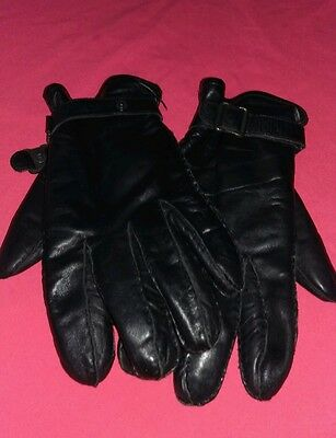 Pair of Mens Marks and Spencers Black Leather Gloves - Size Large.