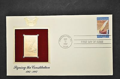 FDC OF 1987 US CONSTITUTION SIGNING S2360 w GOLD REPLICA+GOLD REPLICA C3a