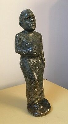 Carved Brown Granite African Mother And Baby Figurine / Sculpture 20cm