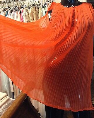 VTG Sheer RED Pleated CHIFFON BABY DOLL Nightgown Wide Swing S/P*VANITY FAIR