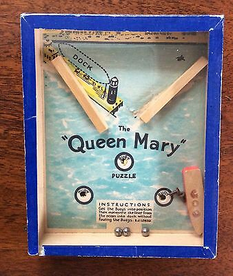 1930's THE QUEEN MARY SHIP Hand Held DETXTERITY PUZZLE by R.Journet Co England