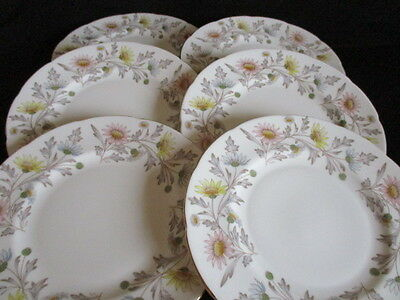 Vintage E Brain English Bone china SOMERSET 8 inch plates x 6 lovely condition