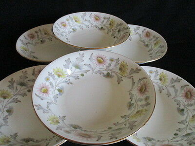 Vintage E Brain English Bone china SOMERSET 7 inch bowls x 6 lovely condition