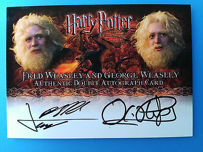 Harry Potter Goblet of Fire Dual Autograph Card Fred & George Weasley Phelps