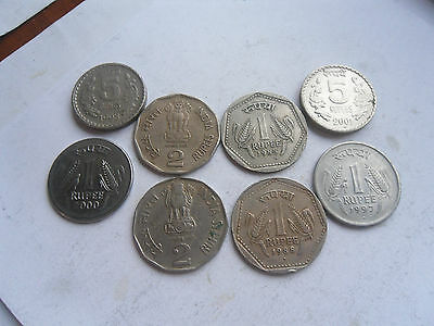 India Rupees, 1,2 & 5, Coins, Mixed Condition, as shown.