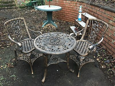 Bistro Garden Set Patio Round Table 2 Seat Chairs 3 Piece Outdoor Bronze Effect