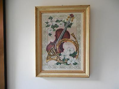 Stunning,Original Embroidery, Needlework,Tapestry of Musical Instruments, Framed
