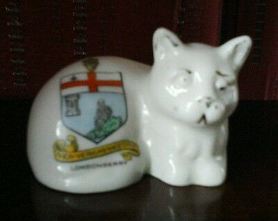 Rare Vintage Shelley  Crested China Cat From Londonderry Crest