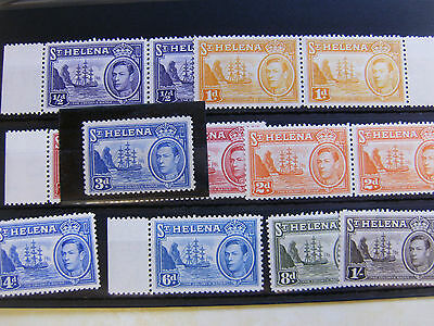 ST HELENA STOCK CARD COLLECTION INCLUDING 1938 3d ULTRAMARINE MINT.