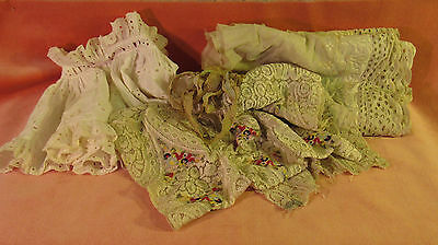 Antique Vintage Cotton Eyelet Fabric Pieces & Lace Lot Embroidered Panel Dolls