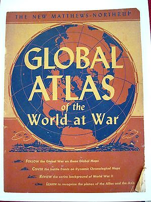 """Vintage 1942 """"Atlas of the World At War"""" w/ Insignias & War Plane ID's  *"""