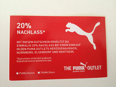 Puma Coupon over 20% for the Outlet´s oder Store - 4 valid times INDEFINITE