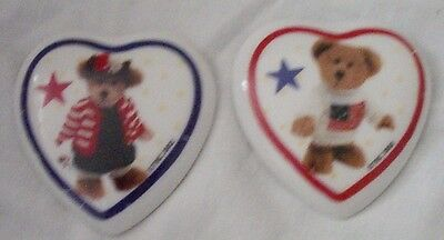 Pair of Boyds Hometown Bears Ceramic Magnets 2001