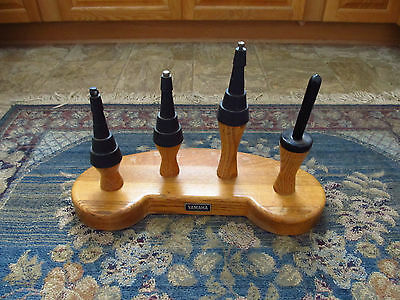 Vintage 4 Instrument Yamaha Store Display Trumpet Clarinet Horn Stand Solid Wood