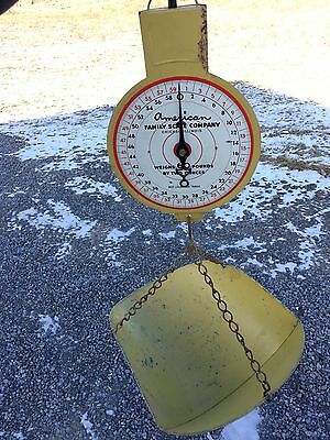 Vintage Yellow American Family Hanging 60 LB Produce Scale Chicago Illinois