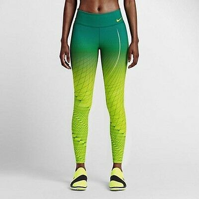 Nike Power Legendary Womens Printed Training Tights 814287-702 - Sz Small - Volt