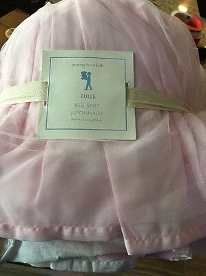 Pottery Barn Kids tulle PINK twin bed skirt Elizabeth Princess Girl NEW