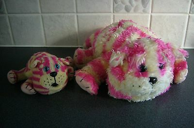 """2 x Bagpuss soft toys - 8"""" & 14"""" long (including tails) - both in VGC"""