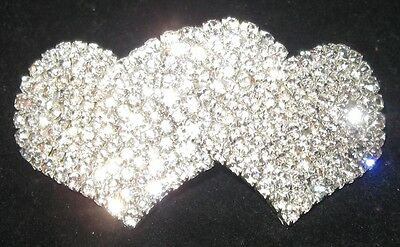 Quality Double Heart Rhinestones Hair Accessory Clip Barrette with Spring Clasp