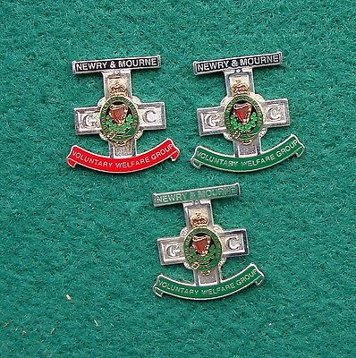 RUC Royal Ulster Constabulary Police NEWRY & MOURNE VOL WELFARE GROUP pin badges