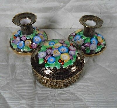 Plant Tuscan China Candlesticks and Trinket Box in Rare Gilt Black