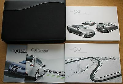 Genuine Saab 9-3 Owners Manual Handbook Wallet 2002-2007 Pack 10298 !