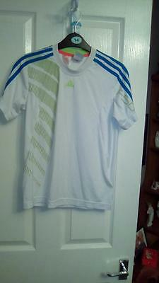 Boys Adidas F50 T Shirt White Green And Blue Stripe On Shoulder Size 11-12 Years