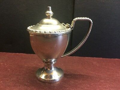 "Vintage Silver plate  Mustard Pot Small Egg shape - Decorative Table 3.5"" tall"