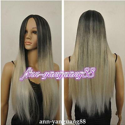 Fashion Ladies Ombre Two Tone Black Grey Resistant Fiber Synthetic Hair Wigs/wig