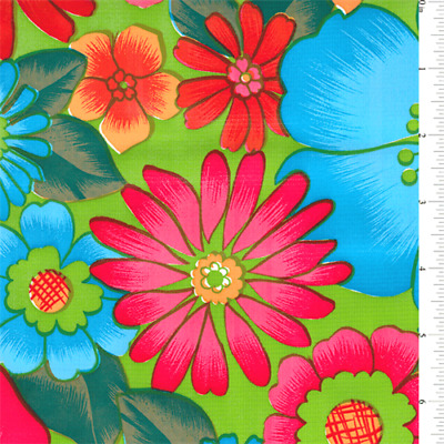Lime Floral Oilcloth, Fabric By The Yard