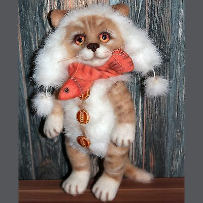 Handmade artist ginger cat with accessories,felting and artifitial fur.10 2/3in.