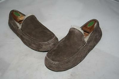 UGG Ascot Suede Shearling Charcoal Slippers US 8