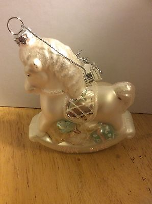 """""""Baby's First"""" Horse Glass Hand Painted Christmas Ornament! New!"""