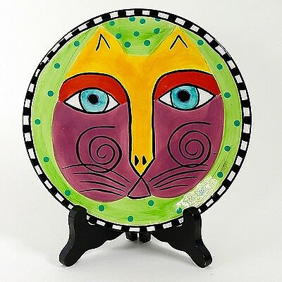"Laurel Burch 8"" Cat Plate Green Background 1997"