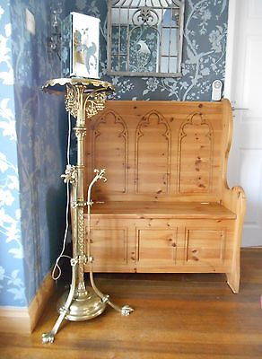 Solid Pine Gothic Carved Monks Bench Settle with storage by Steve Allen - Rare