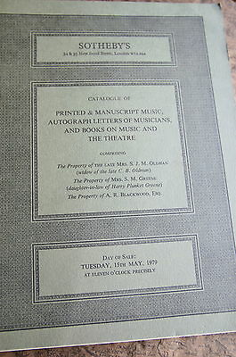Letters Of Musicians  Etc  Auction Brochure. A Must Have For The Enthusiast