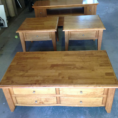 timber coffee table, 2 side tables and entertainment unit