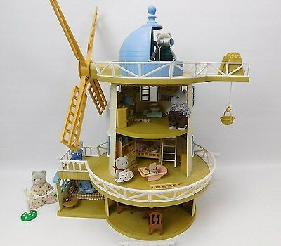 Sylvanian Families Field View Windmill Fully Furnished With 7 Figures Bundle