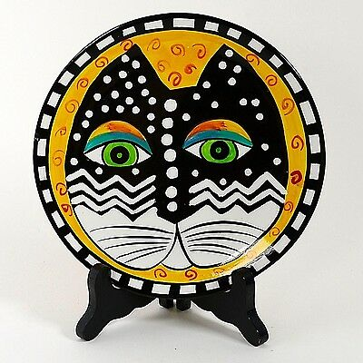 "Laurel Burch 8"" Cat Plate Yellow Background 1998"