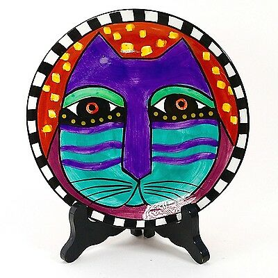 "Laurel Burch 8"" Cat Plate Red Background 1998"